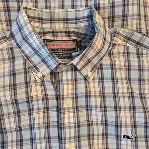 Vineyard Vines Whale Shirt Button Front M Blue Pla